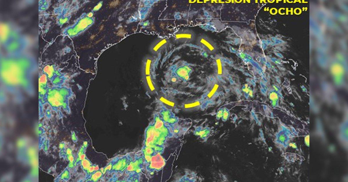 """La depresión tropical forma """"Ocho"""" en el Golfo de México, advierte de fuertes lluvias"""