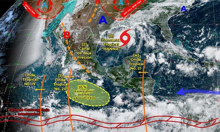Clima hoy en México.  Hannah causará fuertes lluvias en estos estados