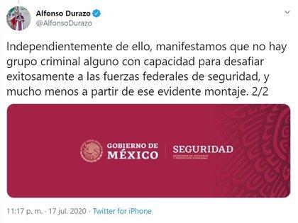 Alfonso Durazo niega las capacidades de las organizaciones criminales