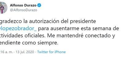 El Secretario de Seguridad tenía problemas personales que resolver (Foto: Twitter / @AlfonsoDurazo)