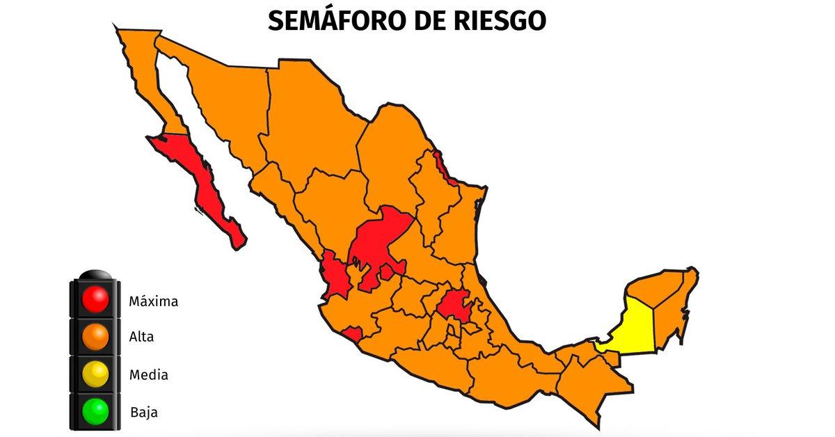 Mapa del coronavirus en México el 15 de agosto.  Seis estados permanecen en rojo cauteloso