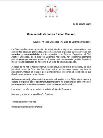 Anuncio sobre Ramón Morales (Foto: Especial)