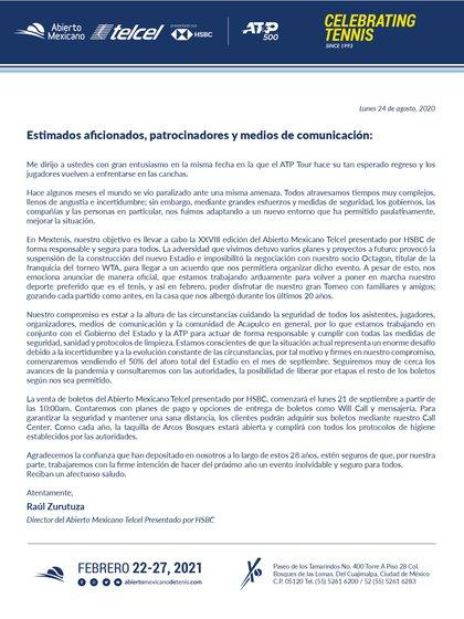 Declaración de Raúl Zurutuza (foto: inaugural del tenis mexicano)
