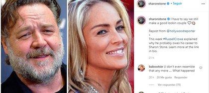 La actriz և productora de 62 años le escribió un sentido mensaje a Crowe (Foto: Instagram @sharonstone)