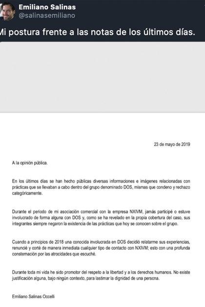 Durante el juicio de 2019, Emiliano Salinas emitió un comunicado rechazando su participación, և eso es todo lo que dijo al respecto.  (Foto: Twitter @ salinasemiliano)