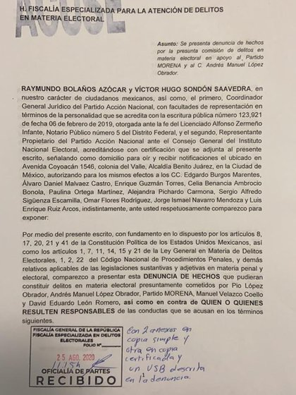 PAN condena a David León ոն Pio López Obrador ante FEPADE (Foto por @ VHSondon_ / Twitter)