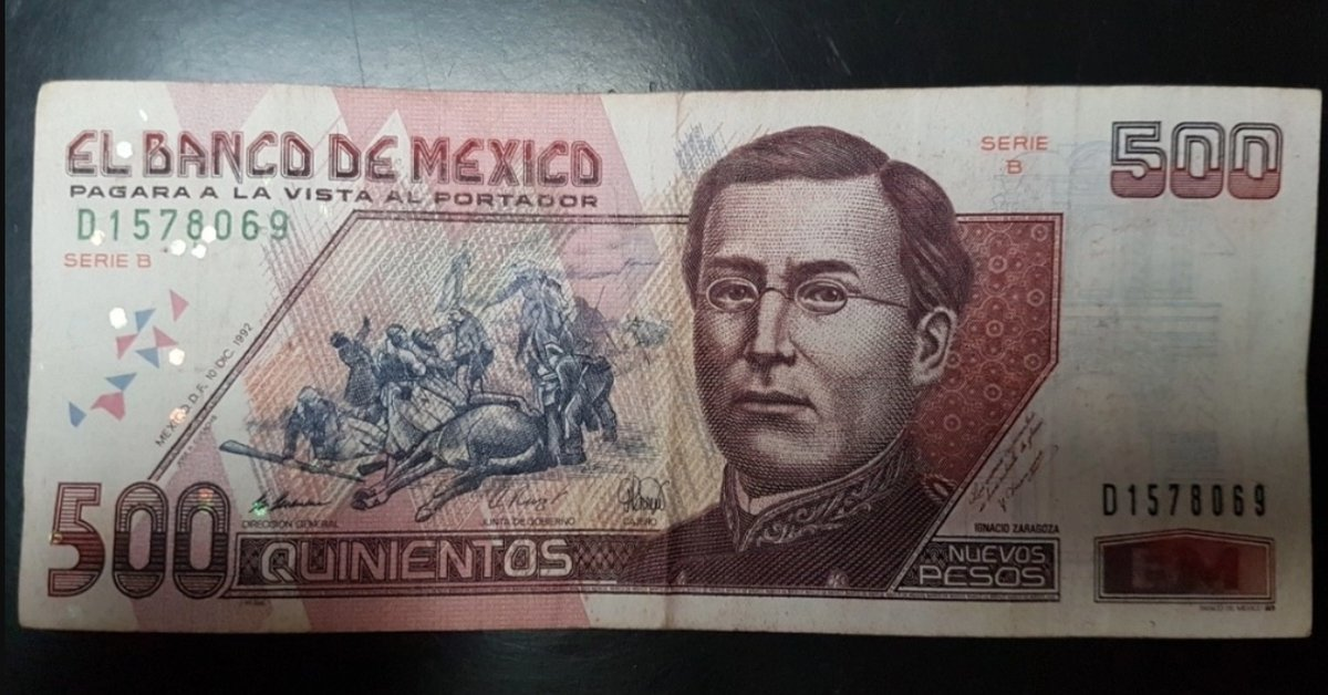 El billete de 500 pesos, representado por Ignacio Zaragoza, cuadruplicó su valor en Internet