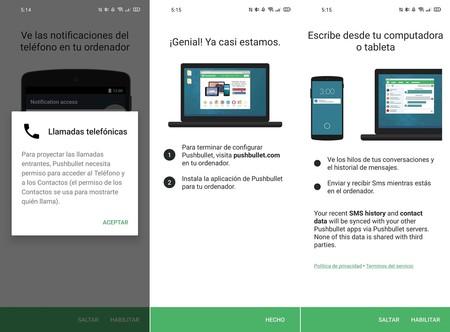 Mensajes de llamada de PC de PC de notificaciones de la aplicación de Android Pushbullet: